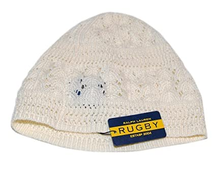 Ralph Lauren Rugby Womens Polo Knit Cotton Skull Hat Cap Cream Ivory ... 123133636fe