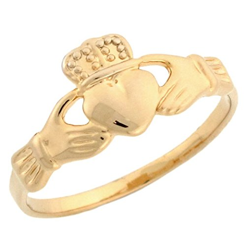 10k Yellow Gold Celtic Claddagh Friendship and Love Ring