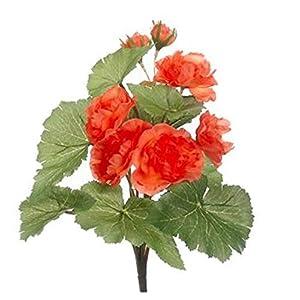 "13"" Coral Begonia Bush Greenery Filler Silk Wedding Flowers Plant Decor 56"