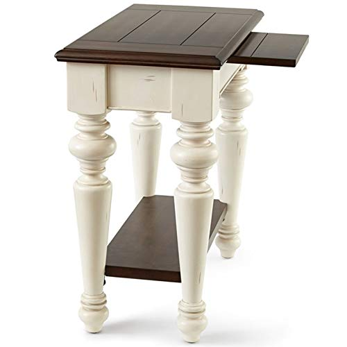 Steve Silver Wesley Chairside End Table in Walnut and White (Furniture Wesley Company)