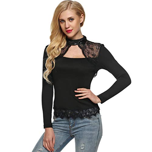 Women's Stand Collar Lace Panel Slim Casual Long Sleeve T-Shirt Tops