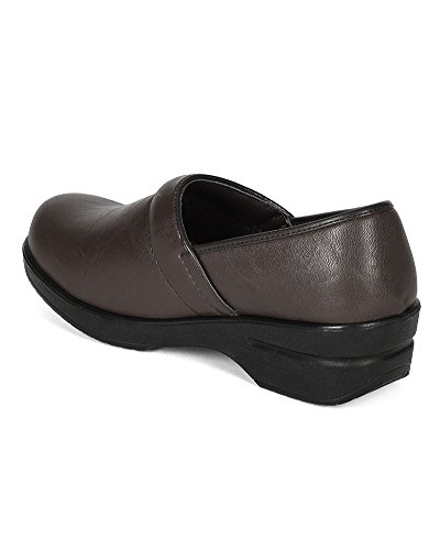 Refresh Women Leatherette Round Toe Slip On Clog BH36 - Brown (Size: 8.5) by Refresh (Image #2)'