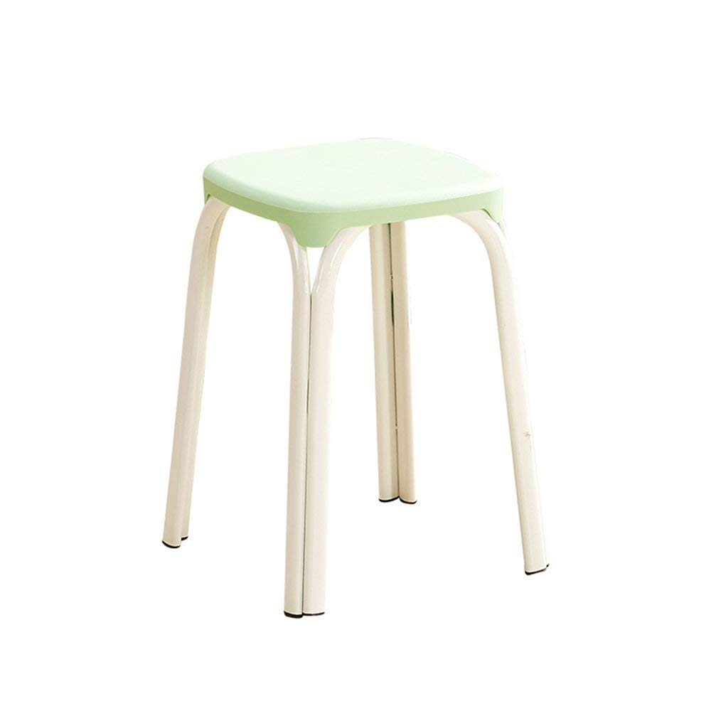 6 GJD Chair-Plastic Stool Padded Adult Household Dining Table Bar Stool Fashion Chair Modern Simple Living Room High Stool Home Convenient (color   8)