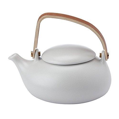 (ZENS Ceramic Tea Pot with Infuser,Porcelain Tea Pot for Loose Leaf Tea Pots Lover,Modern Teapot Gift for Adult and Women,27oz/ 800 ml,Grey)