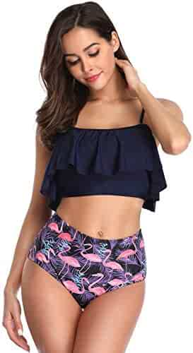 7e385aa467fb3 Macool Women Bikini Retro Flounce High Waisted Bathing Suit Halter Neck Two  Piece Swimsuit
