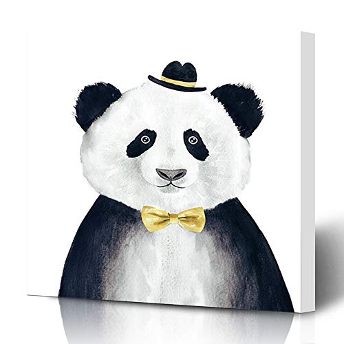 Ahawoso Canvas Prints Wall Art 12x16 Inches Hand Painting Watercolor Hipster Panda Cool Drawing Doodle Hat Bear Retro Funny Decor for Living Room Office Bedroom