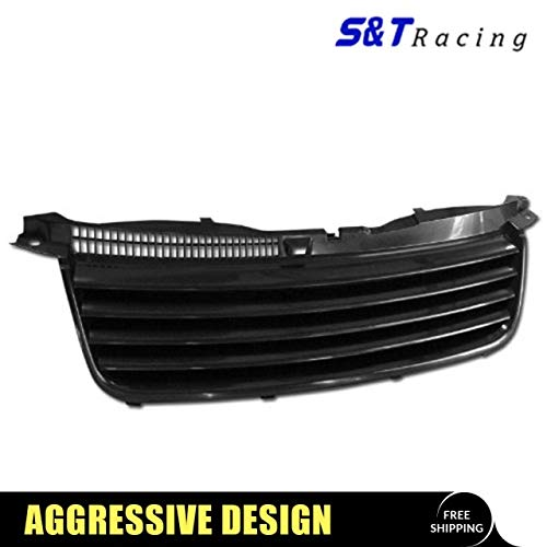 S&T Racing Black Finished Horizontal Front Hood Bumper Grill Grille Cover for 2001-2005 Volkswagen Passat B5.5 -
