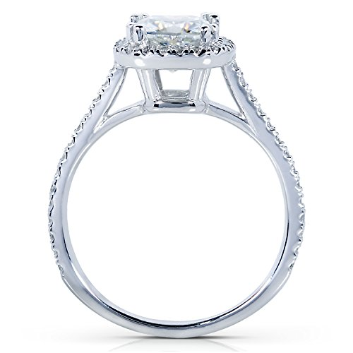 Forever One Colorless (D-F) Moissanite Engagement Ring with Diamond 1 1/3 CTW 14k White Gold