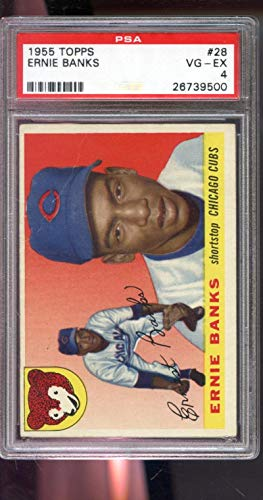 1955 Topps #28 Ernie Banks Chicago Cubs MLB PSA 4 Graded Baseball Card (Baseball Card Banks Graded Ernie)
