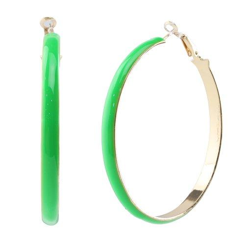 Big Rose Gold Plated Enamel Charm Spring Hoop Earrings, Stainless Steel Pin, Nickel-free Hypoallergenic by...