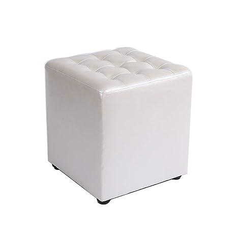 Amazon.com: Taburete pequeño cuadrado de piel, impermeable ...