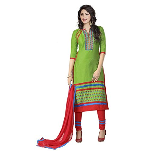 CRAZYBACHAT Indian Ethnic Pure Glass Cotton Designer Green Color Salwar Suit Dress Materials by CRAZYBACHAT