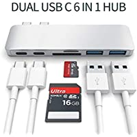 """USB C Hub, Alleasa 6in1 Type C, 2 USB3.0, SD/Micro/TF Card Reader for 13""""&15"""" MacBook Pro 2016/2017 Plug and Play (Grey)"""