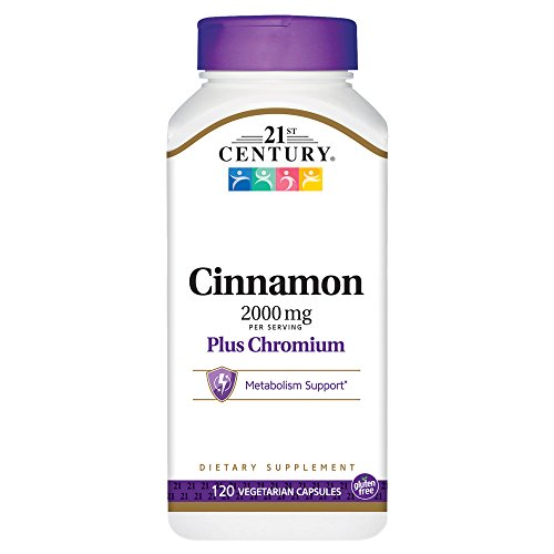 21st Century Cinnamon 2000 mg Per Serving Plus Chromium Vegetarian Capsules 120 count