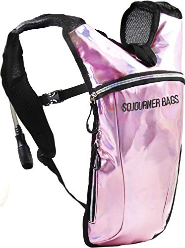 Sojourner Hydration Pack Backpack - 2L Water Bladder Included for Festivals, Raves, Hiking, Biking, Climbing, Running and More (Holographic - Pale Pink) - Pink Hydration Pack