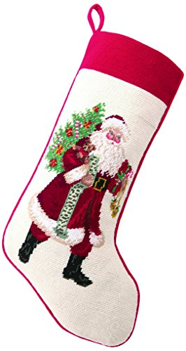 "Lynn Haney 31LH18MC Jingle Claus Needlepoint Stocking, 11 x 18"""