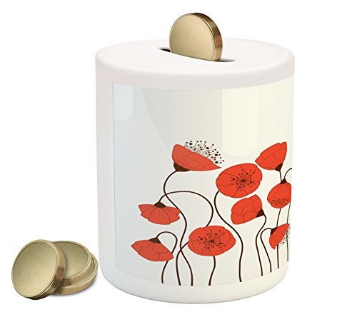 Modern Poppies Printed (Ambesonne Flower Piggy Bank, Poppy Flowers Blossom Art Deco Style Summertime Garden Modern Repetition, Printed Ceramic Coin Bank Money Box for Cash Saving, Vermillion and Pearl)