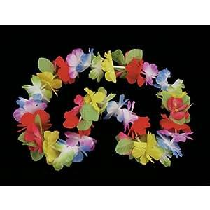 Collar de flores hawaianas multicolores flores de tela en colores pastel con pistilo