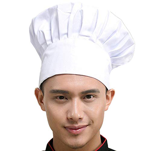Hyzrz Chef Hat Adult Adjustable Elastic Baker Kitchen Cooking Chef Cap, White -