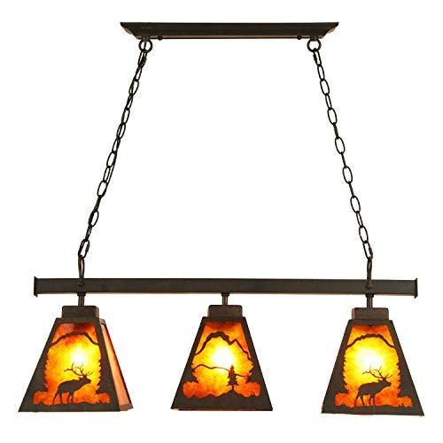 Cimic Rustic Deer Cubby House Rust Metal & Amber Mica 3-Light Island/Pool Table Pendant Light