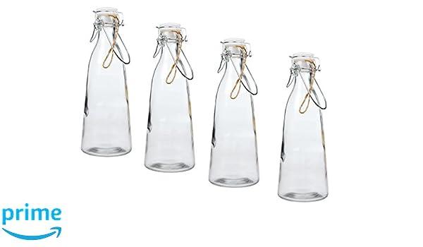 Invero - 4 x Pack de Classic Vintage cocina hermético botella de cristal 1 L con anillo de goma y clip de metal en la tapa. Ideal para leche, zumos, ...