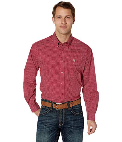 (Cinch Men's Classic Fit Long Sleeve Button One Open Pocket Print Shirt, Brandy red L)