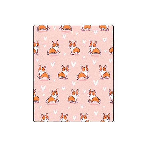 "INTERESTPRINT Cute Corgi Fleece Blanket Super Soft Warm Lightweight Bed Blanket 50""(W) x 60""(L)"