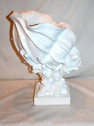 (New Large White Color Conch Shell Seashell on Coral Base Decorative Figure Statue)