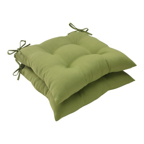 Pillow Perfect Outdoor Forsyth Tufted Seat Cushion, Set of 2, Green