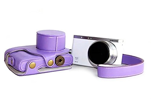 Nine States Synthetic Sleek Leather Camera Case for Samsung NX Mini Zoom with Hand Strap (Purple)