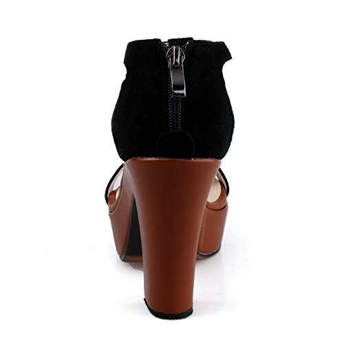 AllhqFashion Womens Open Toe Zipper Sheepskin Solid High Heels Sandals Black UVWi6Ry5a