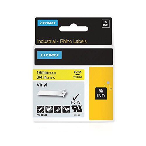 DYMO RhinoPRO Adhesive Vinyl Label Tape, 3/4-inch, 18-foot Cassette, Yellow (18433)