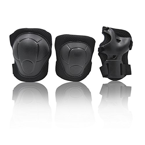 eNilecor Kid's Knee Pads Elbow Pads Wrist Guards for Inline & Roller Skating Skateboarding Cycling Blading Protective Gear Pack of 6 (Black) Adjustable Soft Pads