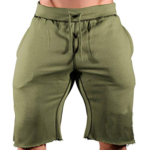 (NUWFOR Fashion Men's Casual Sports Jogging Elasticated Waist Shorts Pants Trousers?Green,US:M/AS:XXL Waist?33.9