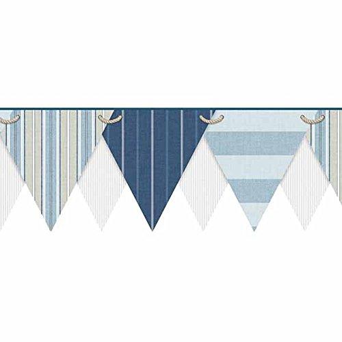 York Wallcoverings NY4902BD Nautical Living Striped Pennant Border, Cream/Pale Grey/White/Chambray Blue/Pale Blue/Navy Blue/Khaki ()