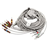 Huanyu EKG Cable ECG Cable 10 Leads Din 3.0 15 Pins for Burdick ekg machine(Din3.0mm+American Standard)