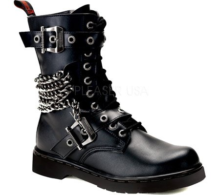Demonia Disorder-204, Stivali Uomo Blk Vegan Leather