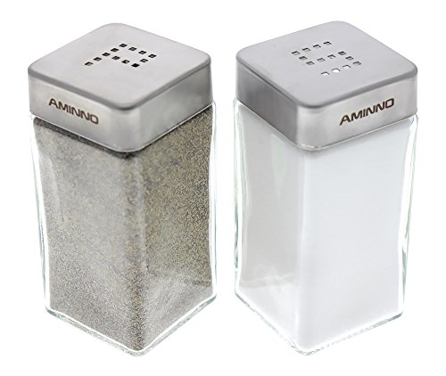 Set of 2 - High Grade Quality Glass Salt and Pepper Shakers - Stainless Steel Tops - 2 X 2 X 4 inches