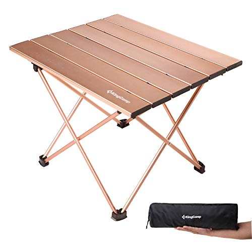 KingCamp Ultralight Compact Folding Camping Aluminum Table with Carry Bag, Two Sizes (Large, Desktop 22
