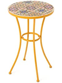 Barnsfield Outdoor Round Tile Side Table, Featuring Bright Flower Based  Designs, Wonderful Accent