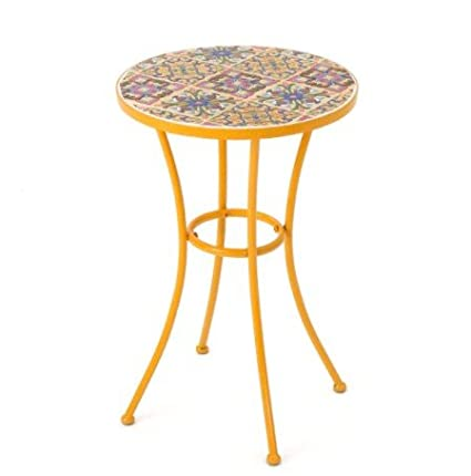 Amazon Com Barnsfield Outdoor Round Tile Side Table Featuring