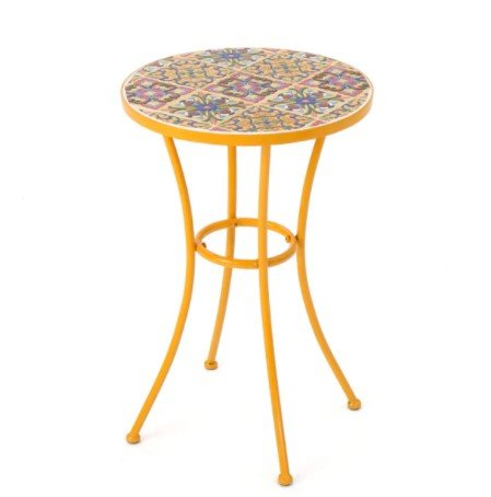 Barnsfield Outdoor Round Tile Side Table, Featuring Bright Flower-based Designs, Wonderful Accent to every Patio, Durable Ceramic, Sturdy Powder Coated Iron (Tables For Patio Designs Tile)