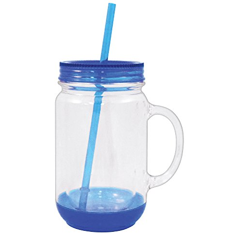 Mason Jar with Lid Plastic Tumbler Drinking Cup Mug with Straw 18 oz (Blue) -