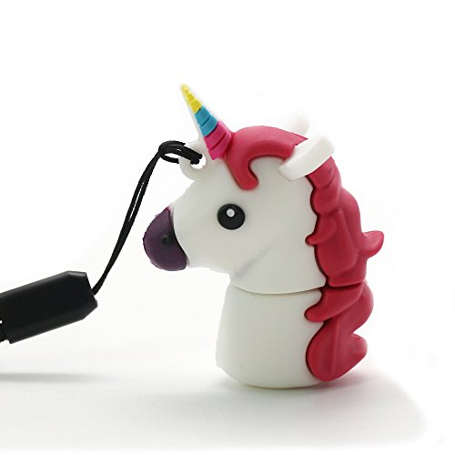 DBigness Cartoon Unicorn PVC USB Flash Drive 2.0 Lovely Cute Gift USB Flash Memory Disk USB Flash Stick Pen Drive (16GB) by DBigness