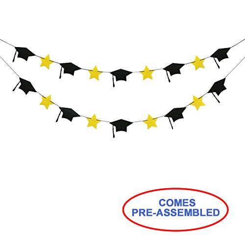 Graduation Photo Wall Hanging - 2018 Graduation Party Decorations - Felt Grad Caps Banner Garland - NO DIY - Graduation Party Supplies 2018 - Black and Yellow Color - 2 Pack