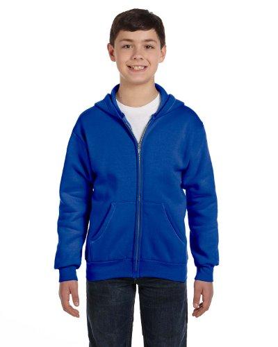 Hanes Youth 7.8 oz. ComfortBlend EcoSmart 50/50 Full-Zip Hood, Large, DEEP ROYAL