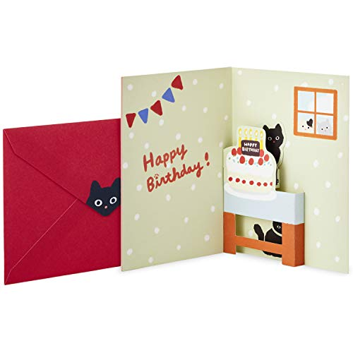 Hallmark Pop Up Birthday Card (Cat and Friend with Birthday Cake) (Birthday Cake Black Forest)
