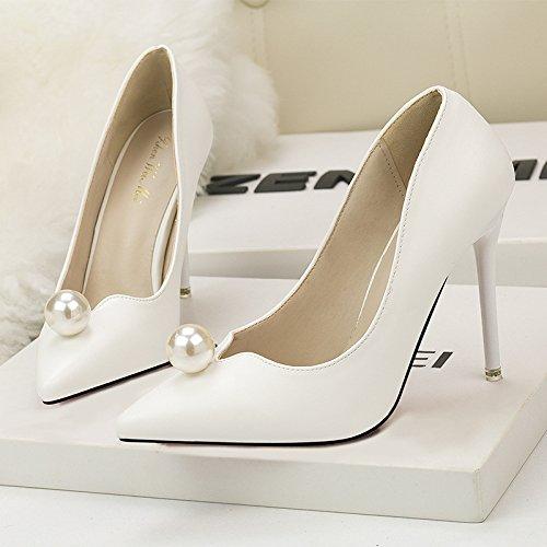 profonda punta Il donne tacco coreano perla della bocca belle delle e white donne dolce semplice poco le scarpe con moda scarpe alto HUpqwHrn