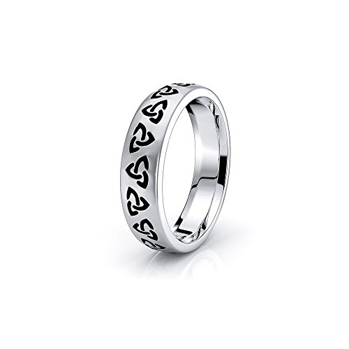 Alganati 10K White Gold Trinity Knot Celtic Wedding Ring Black Nano Plated Size 7
