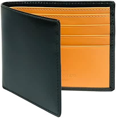 Ettinger Men Leather Billfold Wallet Green with London Tan interior